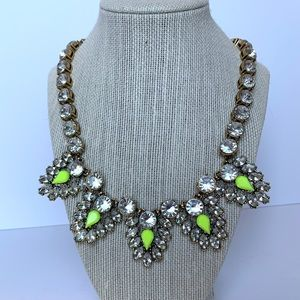 J.Crew Crystal & Neon Chevron Statement Necklace